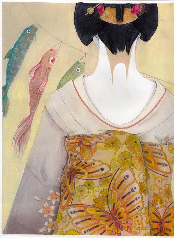 geisha terzo particolare di tavola realizzata in acrilico