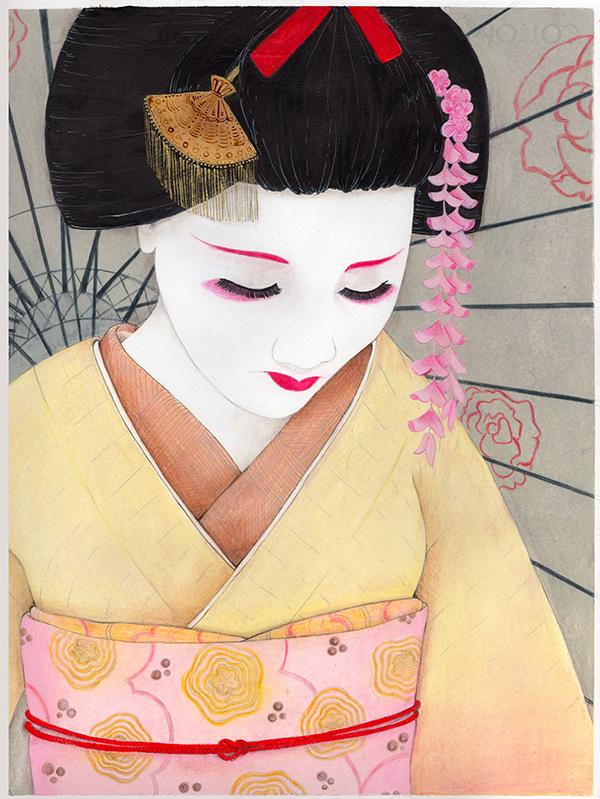 particolare di geisha realizzata con acrilico