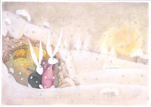 2 coniglietti aspettano la fine della nevicata tecnica mista