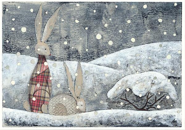 2 coniglietti nella neve tavola illustrata con incisione