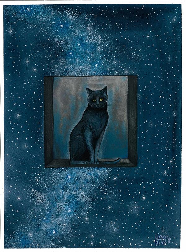 illustrazione a acquerello per gatto nero e cielo stellato