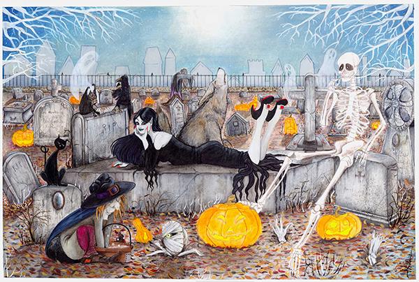halloween in cimitero tecnica mista