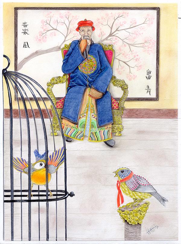 l'imperatore e l'usignolo realizzato con matite colorate