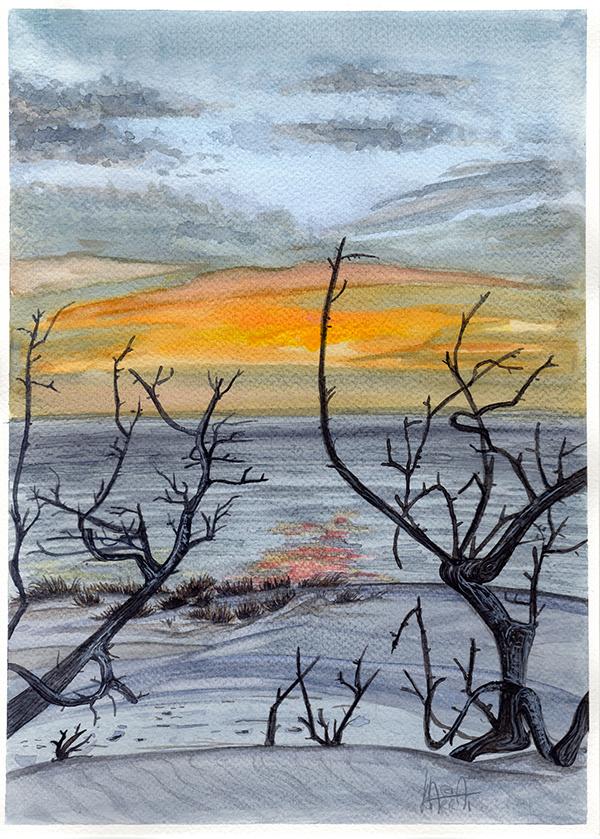 tramonto a acquerello sul mare