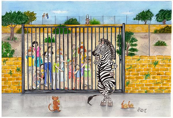 lo zoo visto dagli animali tecnica mista