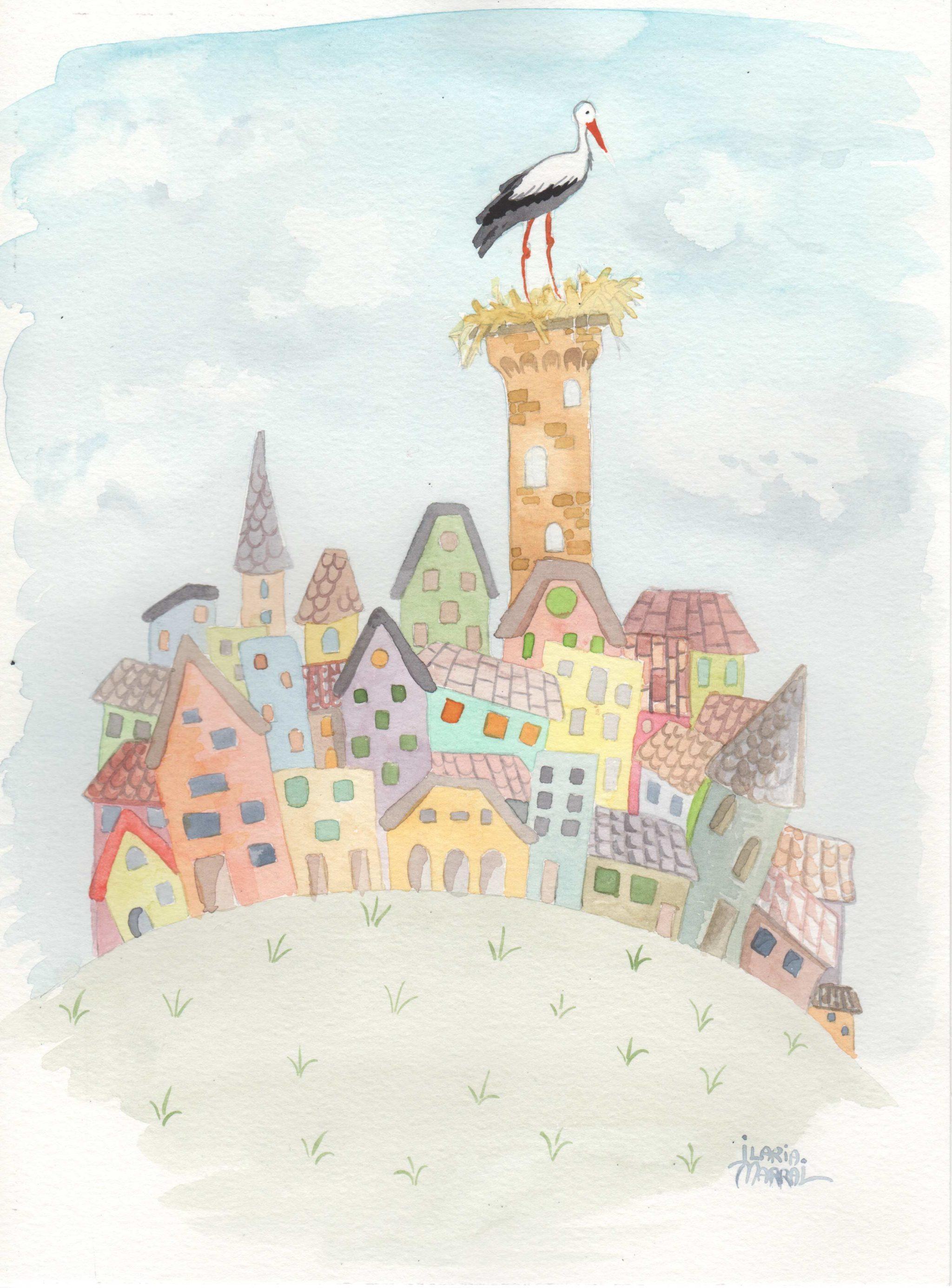 una cicogna fa il nido in cima a una torre